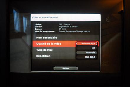 Choisir la qualité de la video enregistrée sur la freebox revolution
