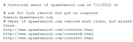 Syntaxe du fichier texte pour demander le retrait de liens