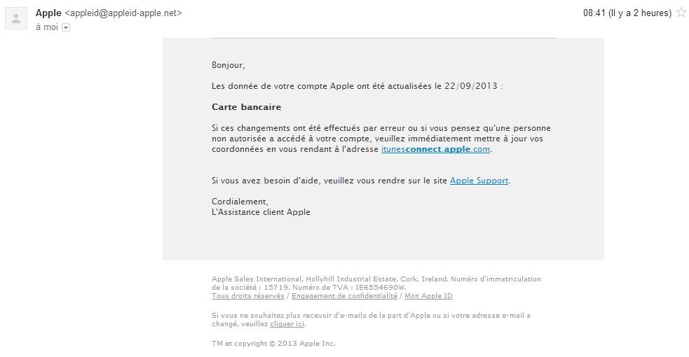 Mail de phishing Itunes